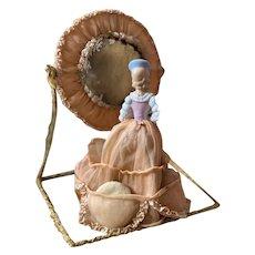 Rare Antique French Boudoir Porcelain Half Doll Organdy Skirt Ruffled Ribbonwork Powder Puff Holder Mirror