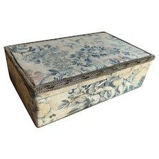 Bella Bordello Antique French Fabric Box Blue Roses Ribbon Metallic Passementerie Trim Keyhole