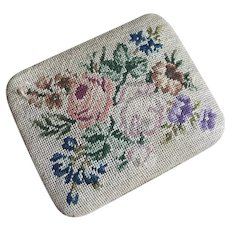Bella Bordello Antique Petite Needlepoint Embroidered Rose Floral Box Silk Lined