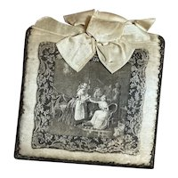 Bella Bordello Antique French Chocolate Candy Box Litho On Silk Metallic Passementerie Lace Ribbon Bow