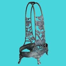 Bella Bordello Antique Stunning Silver Plate Brides Basket Aesthetic Movement Art Nouveau Cherub Goddess Floral