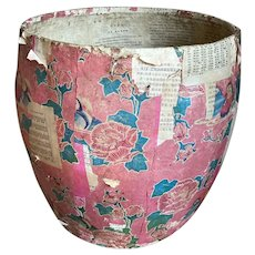 Vintage Paper Mache Bucket Pink Birds Laundry Basket Flower Towel Holder Shabby Chic Couture