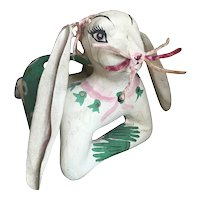 Vintage Easter Bunny Basket Candy Container Boots Gloves Pink Green Chenile Paper Mache Basket Shabby chic