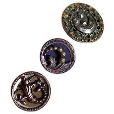 Bella Bordello Antique Button Set 3 Metal Purple Tint Moon Stars Steel Cut