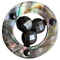 Bella Bordello Antique Button Abalone Openwork Circle