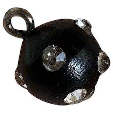 Bella Bordello Antique Button Round Black Rhinestone