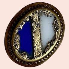 Bella Bordello Antique Button Gold Tone Shield Cobalt Blue White Glass Stones
