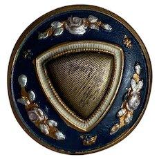 Bella Bordello Antique Button Gold Tone Blue Painted Floral Accent