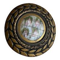 Bella Bordello Antique Button Large Bronze Gold Tone Wreath Porcelain Painted Pink Flowers