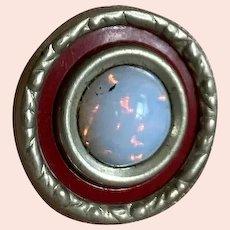 Bella Bordello Antique Button Silver Tone Red Opal Gem Glass