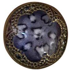 Bella Bordello Antique Button Unusual Purple Glass Leopard Pattern Metal Surround