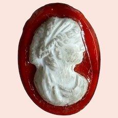 Bella Bordello Antique Button Red Glass White Woman Lady Cameo