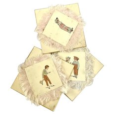 Antique Set 3 Decorative Cards Gold Edge Silk Fringe Pink White Printed People