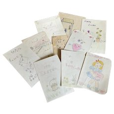 Bella Bordello Collection 1940's Vintage Hand Drawn Cards From Marilyn To Mom & Dad Easter Valentine