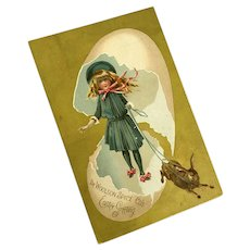 Antique Trade Card Woolson Spice Co. Gold Pink Egg Girl Dress Bonnet Bunny Rabbit On Leash Lion Coffee