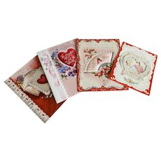 Bella Bordello Vintage Collection Greeting Card Wife Valentine Valentines Day Red Pink Ribbon Bow Lace Heart Pansies Quilted Satin Fan