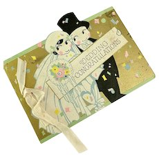 Vintage 1920s Wedding Card Gold Foil Kewpie Bride and Groom Dress Flower Bouquet Ribbon Pastel Confetti