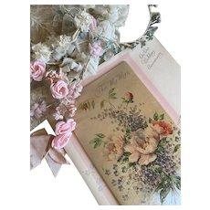 Bella Bordello Vintage XL Padded Satin Greeting Card Wedding Anniversary Wife Iridescent Floral Bouquet Rust Craft