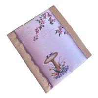 Bella Bordello Vintage XL Padded Satin Greeting Card Easter Wife Birds Birdbath Lavender Floral Rust Craft