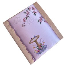 Bella Bordello Vintage XL Padded Satin Greeting Card Easter Wife Birds Birdbath Lavender Floral Rust Craft