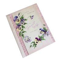 Bella Bordello Vintage XL Greeting Card Happy Birthday Wife Pansies Lavender Purple Real Pink Lace Rhinestones
