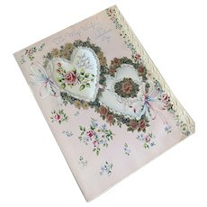 Bella Bordello Vintage XL Padded Satin Greeting Card Valentine Wife Lace Double Heart Ribbon Bows Gibson