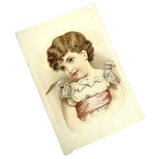Antique Trade Card Young Girl Lace Dress Pink Sash Blue Bows Cherub Face