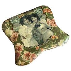 Bella Bordello Antique Celluloid Collar & Cuffs Box Carnation flowers Women Grapes