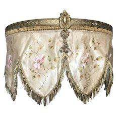 Bella Bordello Antique 19th C. French Ciel De Lit Bed Door Canopy Hans Painted Silk Gold Bullion Trim