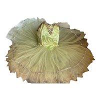 Lovely Citrine Ballet Tutu Costume Tulle Lace Sequins Matching Headdress