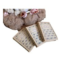 Collection 3 Petite Antique French Books Shabby Chic Blue Floral
