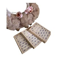 Collection 3 Petite Antique French Books Shabby Chic Floral