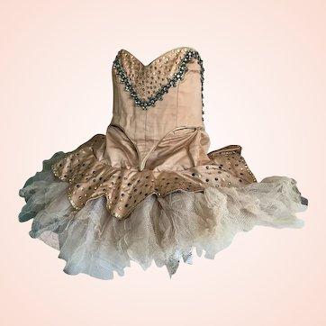 Bella Bordello Incredible Vintage Copper Professional Ballet Costume Tutu Antique Metallic Passementerie Trim Rhinestones Shabby Nordic Chic