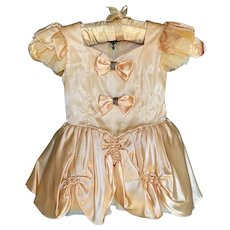 Bella Bordello Vintage Girls Ballet Dress Tutu Costume Yellow Gold Satin Gauze Lace
