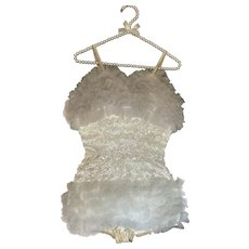 Vintage Burlesque Dance Costume White Sequins Ruffles Tulle Lace