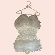 Vintage Burlesque Dance Costume White Sequins Ruffles Tulle Lace