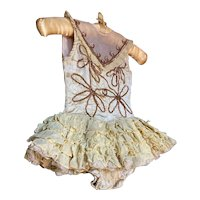 Bella Bordello Vintage Ballet Theater Dance Costume Tutu Yellow Ruffled Gold Sequins