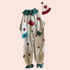 Bella Bordello INCREDIBLE Antique Clown Pierrot Costume With Hat Ivory Red Hearts Oversized