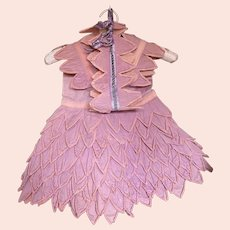 Bella Bordello Vintage Crepe Paper Dress costume Pink Lavender Petals Ruffles Matching Bandeau Headdress