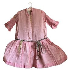 Bella Bordello Antique Vintage Costume Gauze Cotton Pink Crepe Paper Tinsel Silver Lame Trim Shabby Nordic Chic