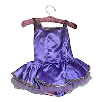 Bella Bordello Vintage Childs Ballet Costume Tutu Satin Purple Shabby Nordic Chic