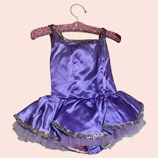 Bella Bordello Vintage Childs Ballet Costume Tutu Satin Purple Shabby Nordic Chic