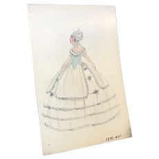Original Vintage Costume Sketch c1920-30 Lester's Blue Gown Bows