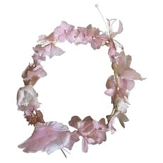 Vintage French Flower Crown Petite Headdress Pale Pink Iridescent Faux Pearls Shabby Chic