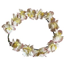 Antique French Flower Crown Ombre Pink White Yellow Stamen