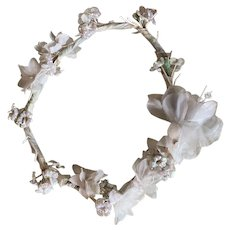 Vintage French Flower Crown Petite Headdress Blue White Iridescent Shabby Chic