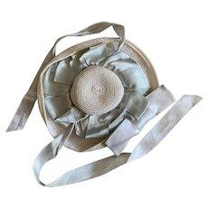 Charming Vintage Doll Hat Lovely Shabby chic White Straw Blue Ribbon Pastel