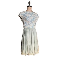 Bella Bordello Vintage Retro Mid Century Dress Heavily Embellished Bodice Beaded Rhinestones Silk Skirt
