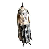 Bella Bordello STUNNING Antique Vintage Dress & Cape Silk Velvet Metallic Lamé Ribbonwork Bows 1920s Flapper Gown