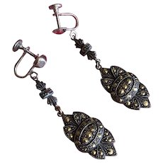 Bella Bordello Vintage Earrings Screw Back Stamped Sterling Silver Marcasite Dangle